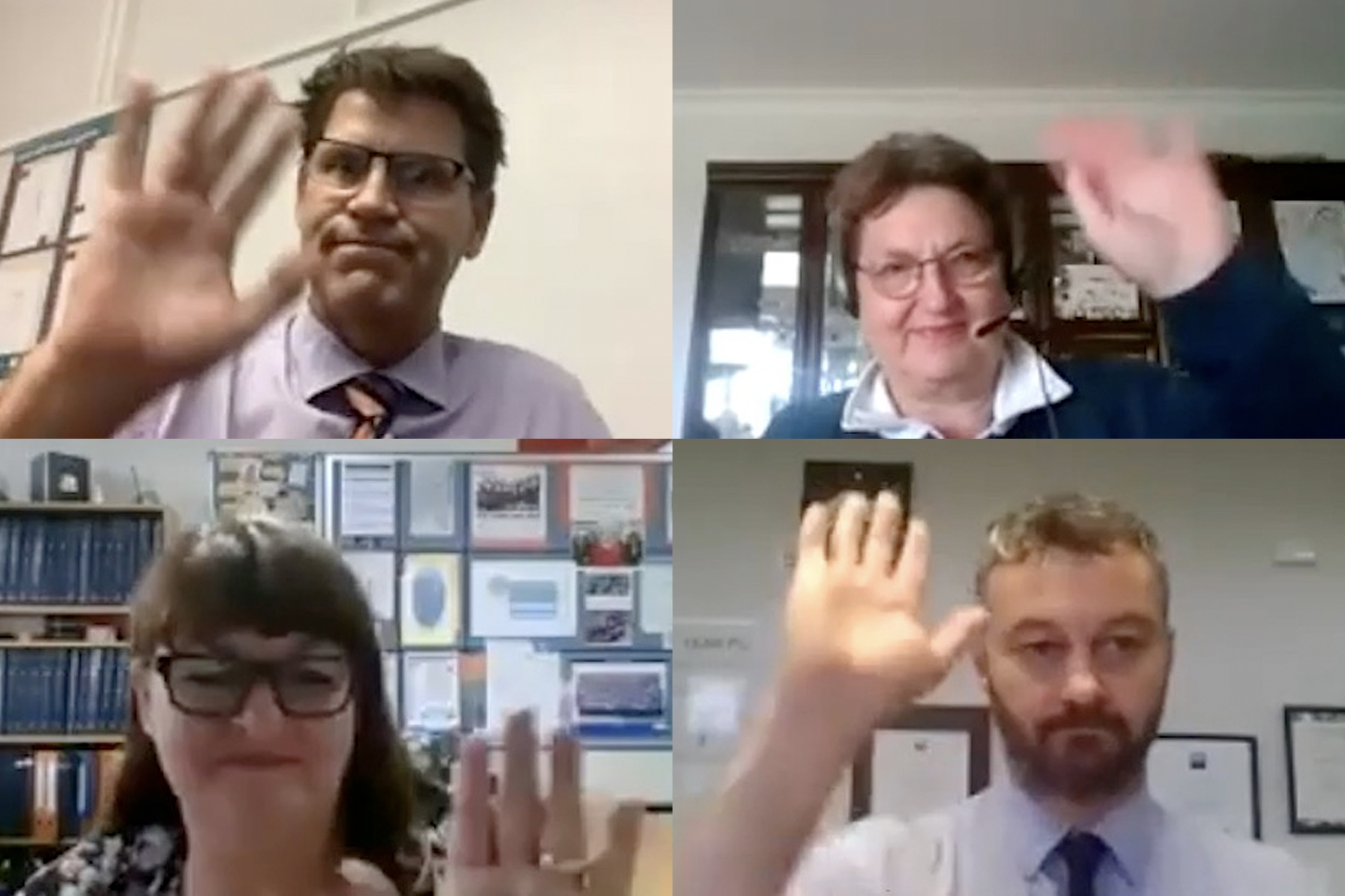 Screenshot of four people in a webinar waving at the camera.